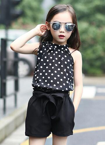 Teen Girls Clothes Set Summer Children Outfits Chiffon Clothing Sets For Girl Kids Vests & Shorts 2 Pcs/ Suits famous brand girl clothes sets fashion girls summer flowers set clothes girls suits kids blouse shorts children clothing set