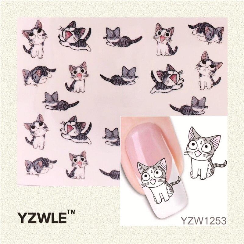 YZWLE 1 Sheet Nail Art Water Decals Transfers Sticker Pretty Black Cat Pattern 1 sheet halloween pumpkin and skull pattern nail art water decals transfers sticker