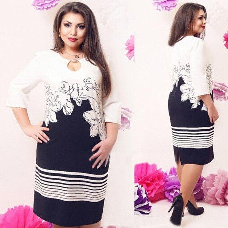 Plus Size Spandex Dresses Autumn XL Chiffon Printing Women ...