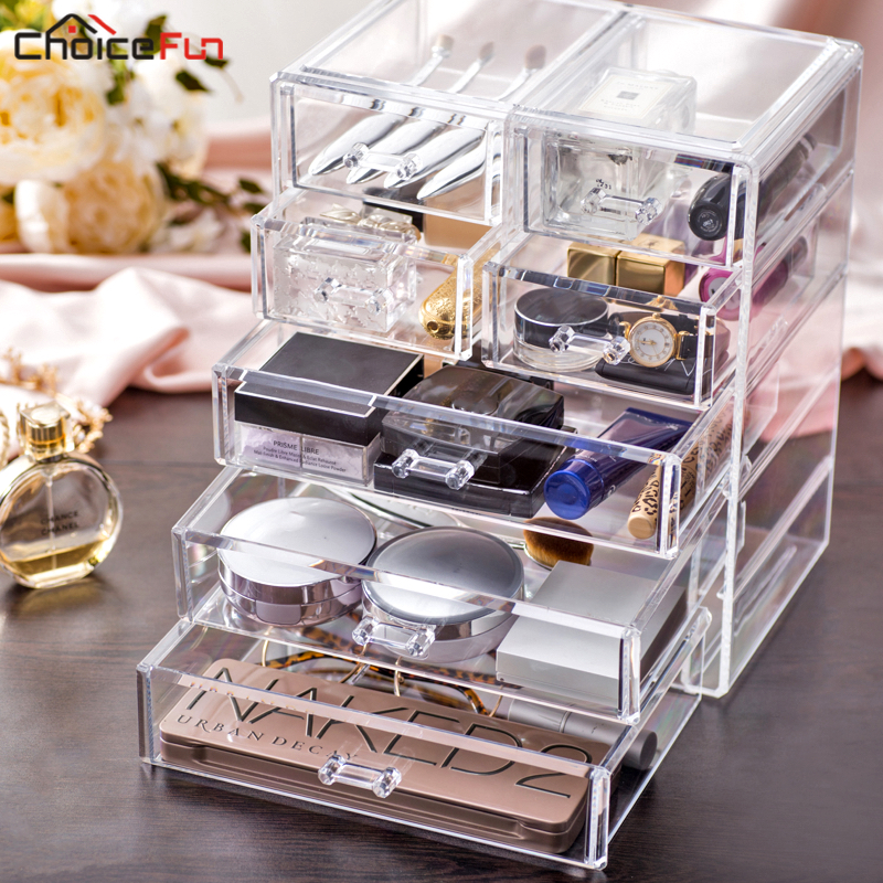 CHOICE FUN Best Selling Large Desktop Clear Acrylic Drawers Casket Big Plastic Storage Makeup Cosmetic Organizer
