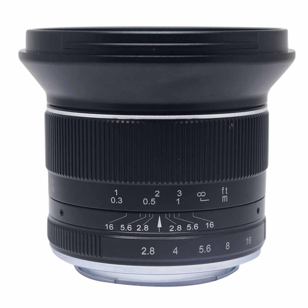 Lente ultra larga do ângulo de mcoplus 12mm f2.8 para canon ef-m fuji fx m43 e-monte APS-C câmeras sem espelho a6500 a6300 xt2 lente