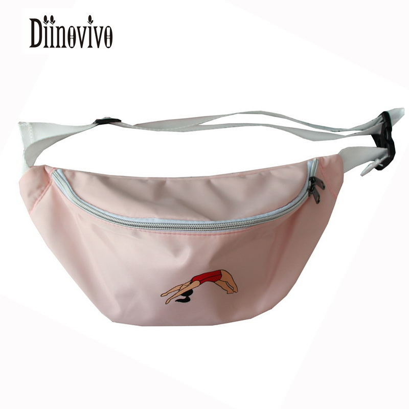 DIINOVIVO Lovely Nylon Fashion Belt Bags Bananka Waterproof Antitheft Chest Packs New Casual Solid Waist Pack Womens Bag DNV0429