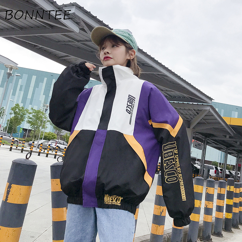 Women New Patchwork Casual Loose Long Sleeve BF Womens Fashion Hip-hop Trendy Ulzzang Daily   Basic     Jackets   Girls Zipper Outwear