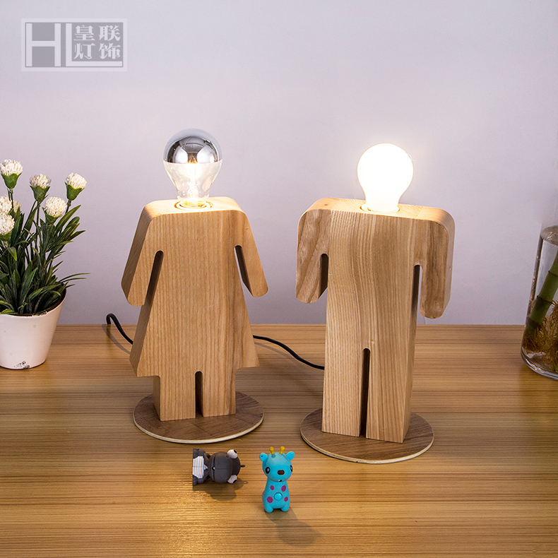 Loft Puppet Shade Boy&Girls Wooden Vintage shade Handmade Wood LED Night Table Lamp Desk Lighting Modern Bulb Desk Light Decor