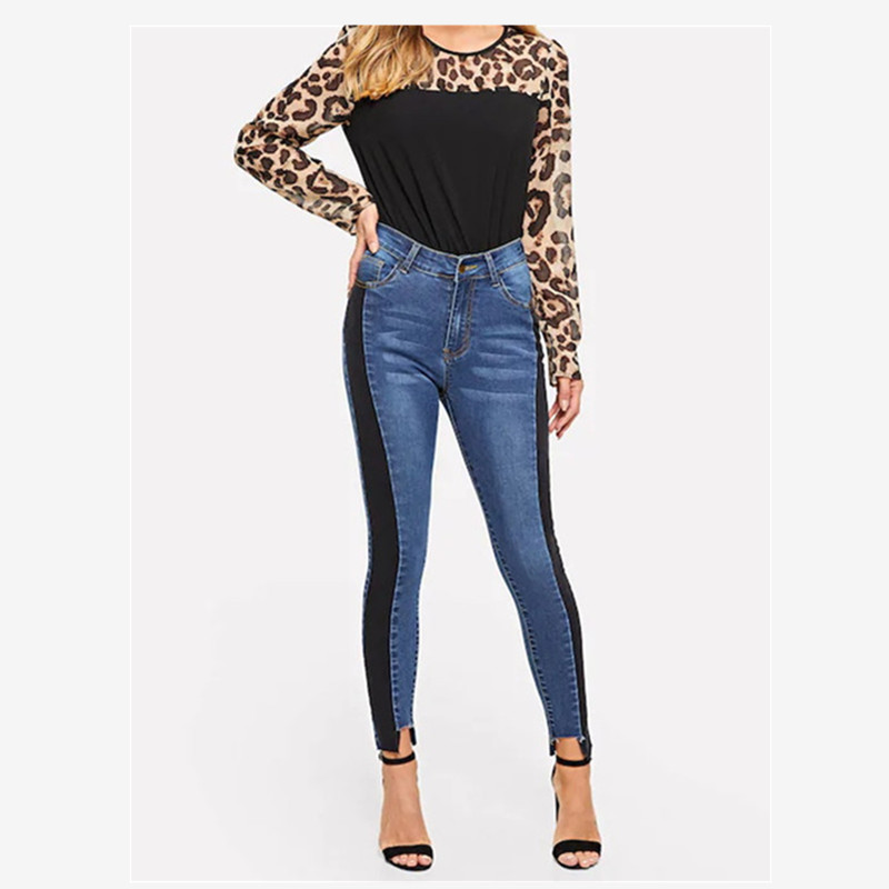New spring hot fashion personality casual slim high waist splicing thin skinny color slim sexy ladies jeans