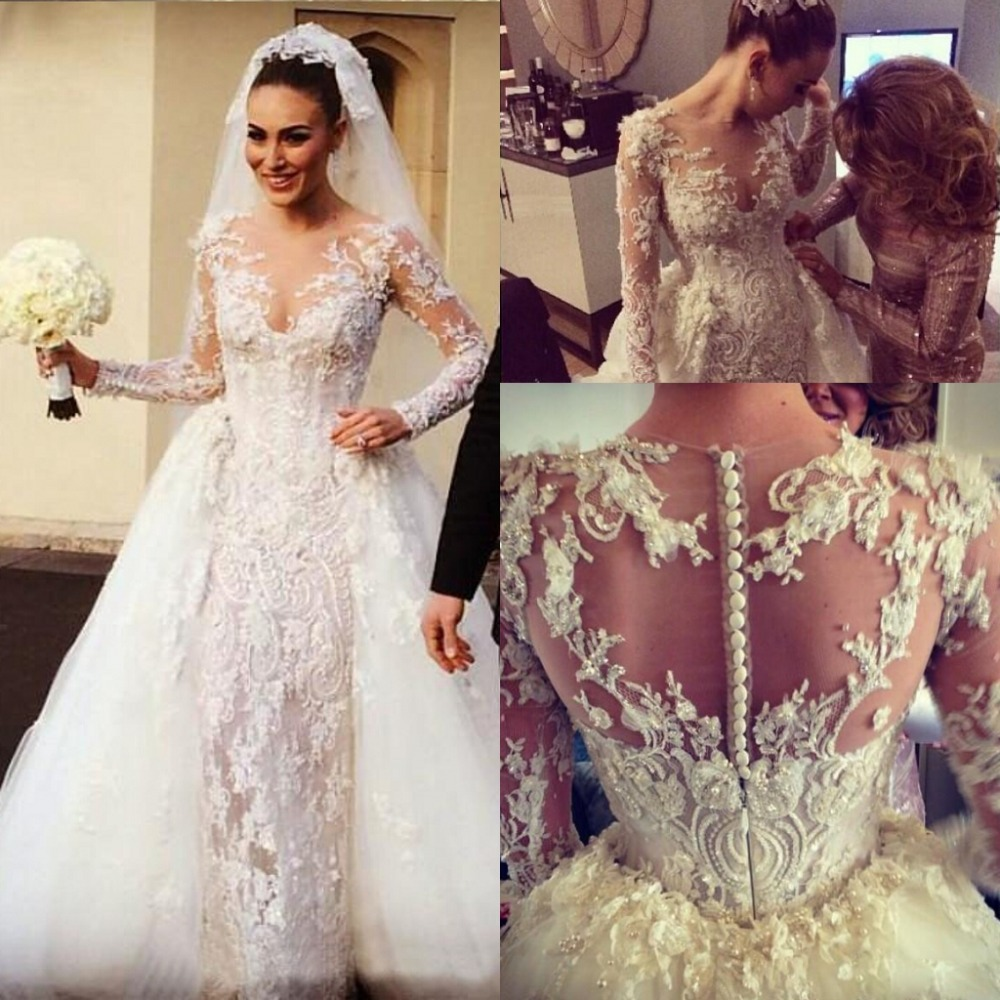 Bridal Detachable Train: Wedding Dresses Detachable Train Romantic Lace Bride