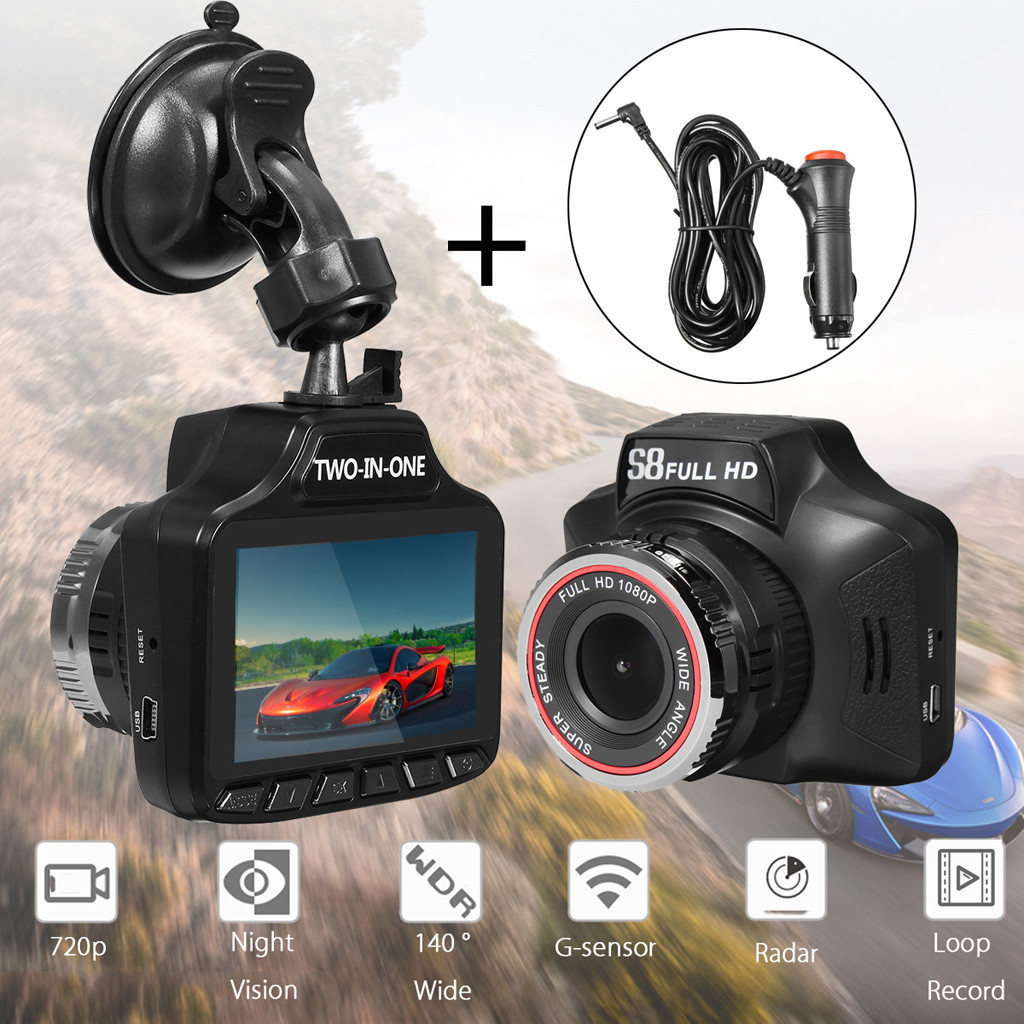 Car DVR Detector Radar-Recorder Camera Wide-Angle-Lens 140-Degree 1080P Two-In-One Ultra-High-Definition