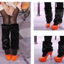 Стиль Черные сапоги манжеты из пышного мягкого из пушистого искусственного меховые ножки гетры верх ботинок обувь крышка 101601