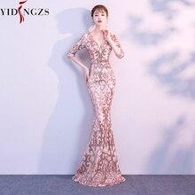 352caf417a YIDINGZS z dekoltem w kształcie litery v przezroczysty tył cekiny formalna  sukienka na przyjęcie pół rękaw koraliki Sexy długie .