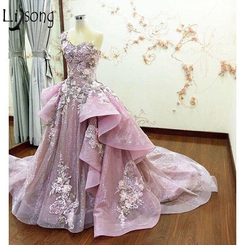 Abendkleider Dusty Pink 3D Flower Prom Dresses Ruffles Embroidery Prom Gowns Vestido De Festa Abiye Formal Party Dress 2018