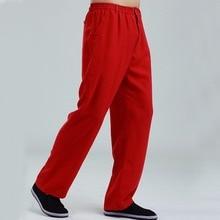 c70adf34655e Nuovo Rosso Degli Uomini Del Cotone di Lino pantaloni Dritti Cinese Kung Fu  Tai Chi Pantaloni Elastico In Vita Pantaloni Lunghi .