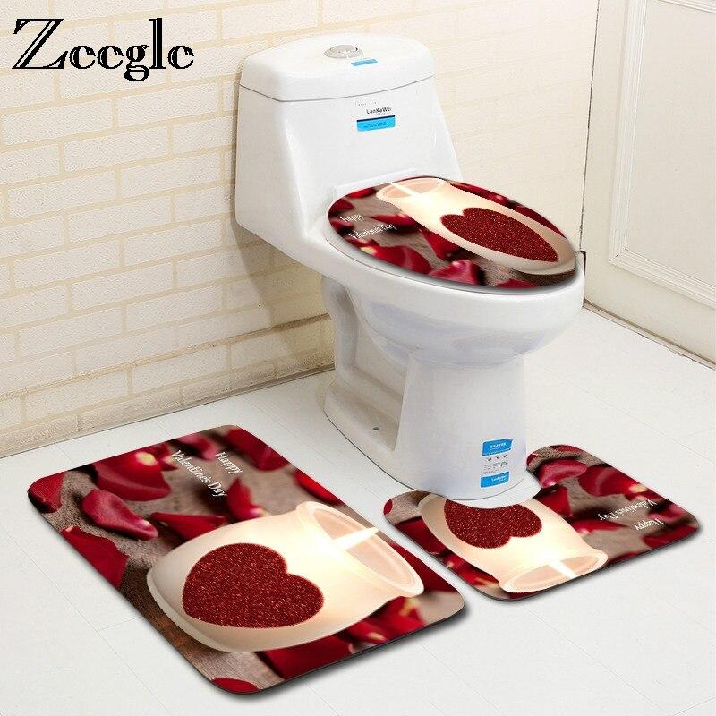 Zeegle Romantic Valentine 3Pcs Toilet Rug Set Non-slip Bathroom Floor Mats Flannel Bathroom Carpet Toilet Lid Cover Bath Mat Set