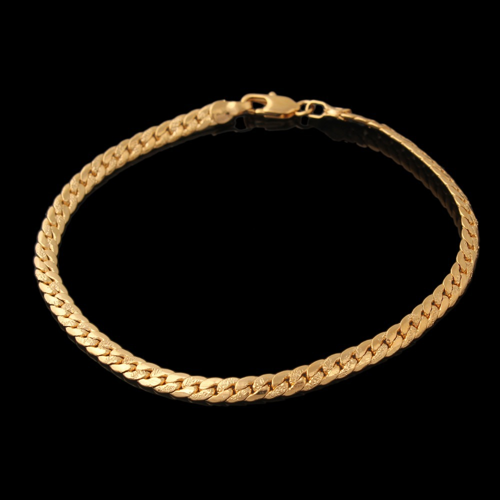 Gold Filled Plated Bracelet Fashion Jewelry Gift Wholesale Chain & Link Bracelet Men Free shipping
