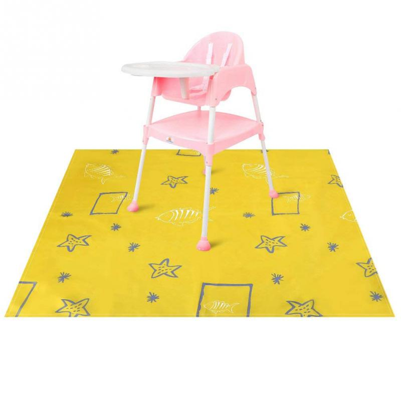 Cartoon Print Accessories Splash Mat Anti Slip Washable Splat For Highchair Feeding Baby Waterproof Portable Floor Protector