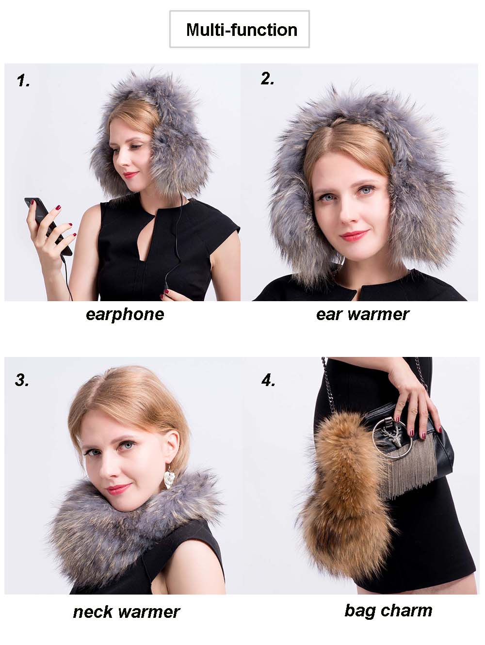 fox fur earmuff multi function