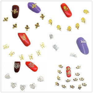 15 Pcs Flowers Bee Nail Art Decorations Bling LOVE Heart Gold Nail Accessoires Silver Crown Studs Manicure Spring Nailart Supply