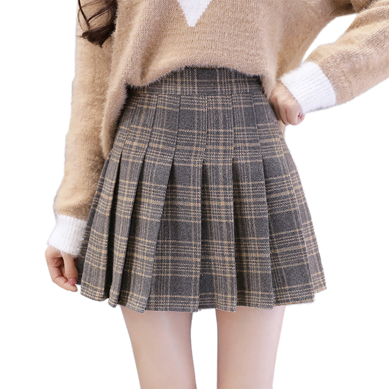 046c015a2122 Detail Feedback Questions about 2018 Autumn Winter Wool Mini Skirts Womens  High Waist Preppy Style Pleated Skirt Plus Size Plaid Short Skirts Women  saias ...