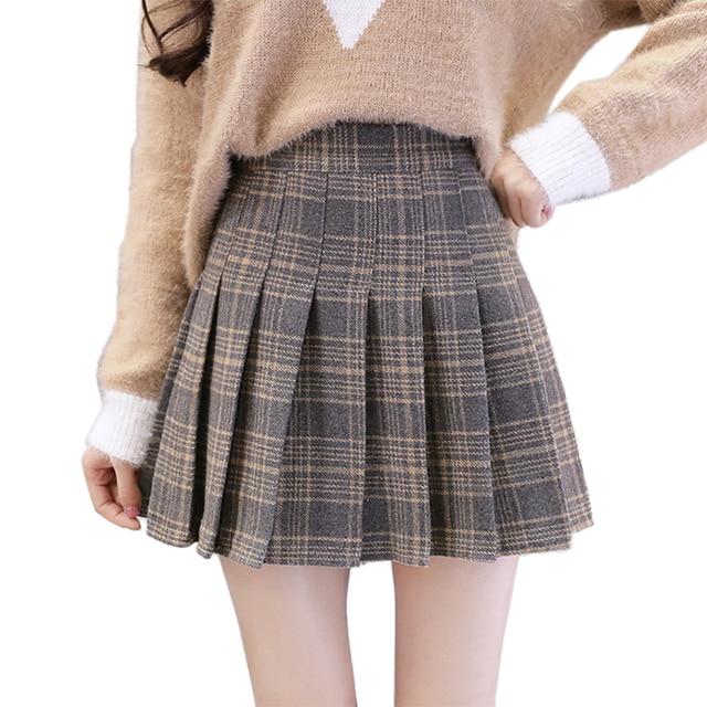 8a2c09129d88 2018 Autumn Winter Wool Mini Skirts Womens High Waist Preppy Style Pleated  Skirt Plus Size Plaid