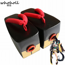 WHOHOLL Comiket Cosplay Shoes Japanese Geta Wooden Flip-flops Onmyoji SSR Demon Knife Girl Clogs 10cm Thick Bottom