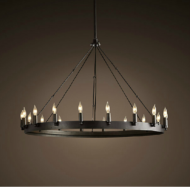 Contemporary Modern American Vintage Antique Style Black Wrought Iron Round Chandelier For Bedroom In Chandeliers From Lights Lighting On