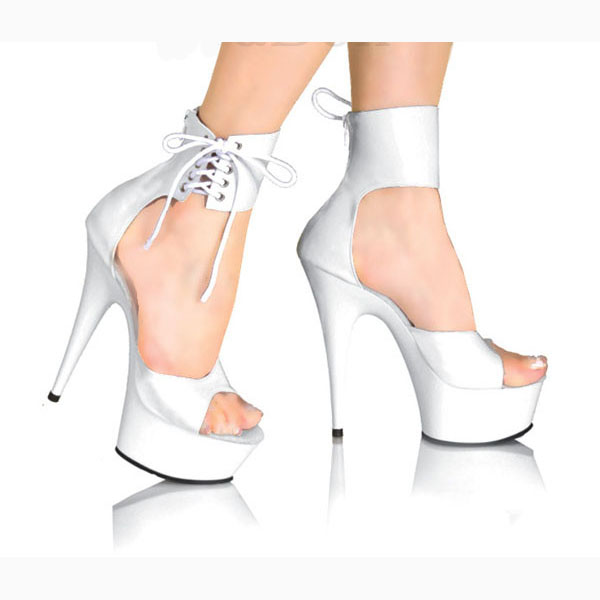 Elegant Ankle Strap 15CM High Heel Slippers Platforms Pole Dance shoes white 6 inch women fashion shoes sexy clubbing high heels classic black plus size 15cm super high heel shoes platform sandals slippers pole dance shoes wedding shoes