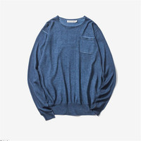 Spring Autumn Knitted Sweaters Casual Outwear Loose Solid Colors Pullovers Homme Vintage Water Washed Special Sweater