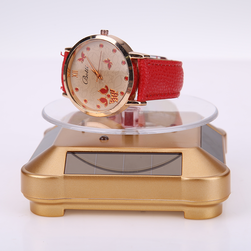 Solar Showcase 360 Turntable Rotating Jewelry Watch Stand Box Fashion Holder Rack for Watch Ring DisplaySolar Showcase 360 Turntable Rotating Jewelry Watch Stand Box Fashion Holder Rack for Watch Ring Display