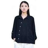 New Spring Autumn Coat Women Tops Long Sleeve Stylish Shirt Cotton Linen Slant Buttons White Blouse