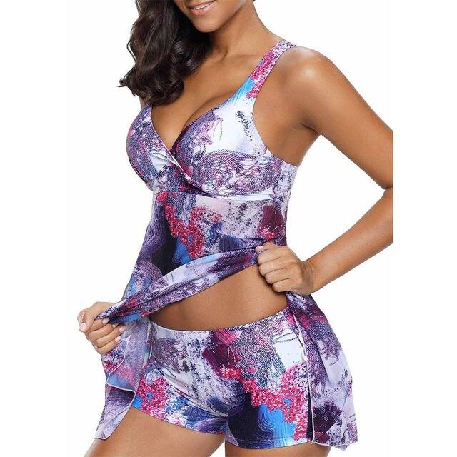 Plus Size Biquini Suit Women Tankini Sets Spaghtti Strap Dress With