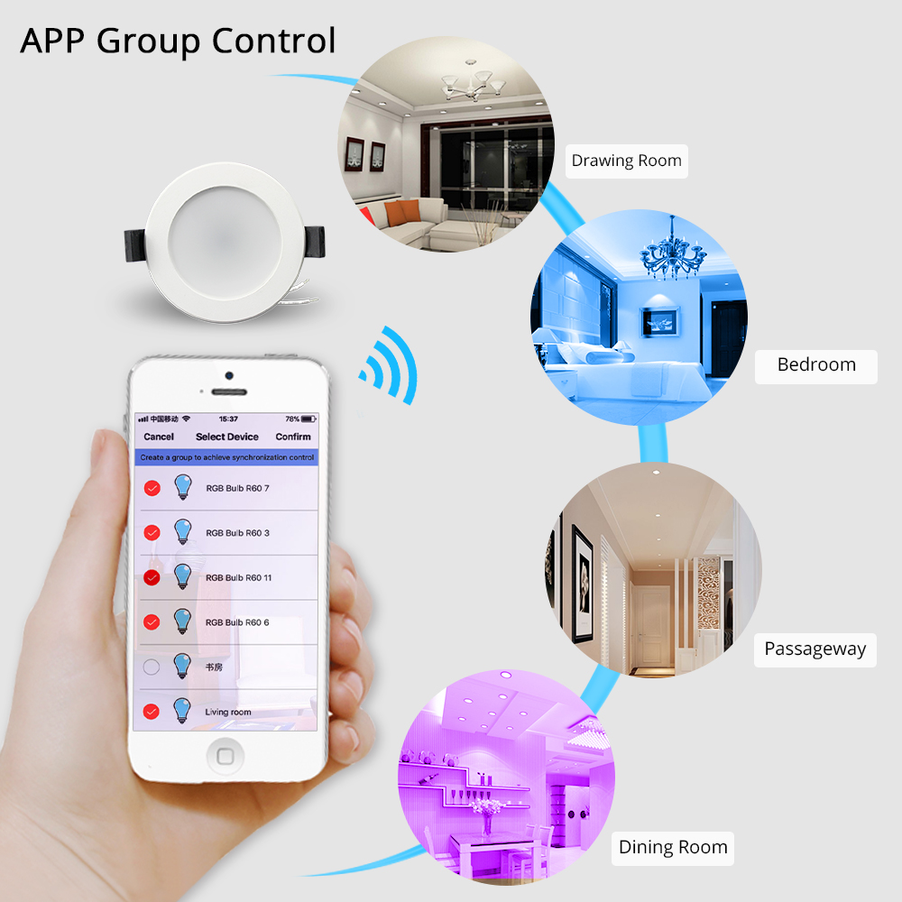 Image 5 - Smart LED Downlight, Multicolored Dimmable ,Support Alexa Echo/Google Home Assistant/IFTTT/APP Control 2.5 inch 5W-in Smart Remote Control from Consumer Electronics