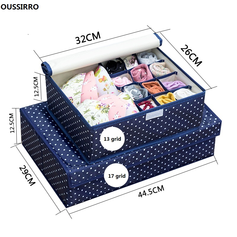 OUSSIRRO 2Pcs/set Underwear Storage Box For Ties Socks Shorts Bra Organizer Divider Drawer Lidded Closet