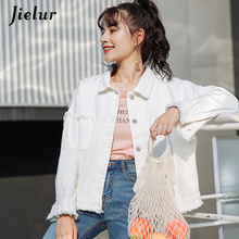 Jielur 5 Colors Korean Autumn Denim Jacket for Women Solid Color Hipster Pockets Female Streetwear BF Jean Coat Dropship