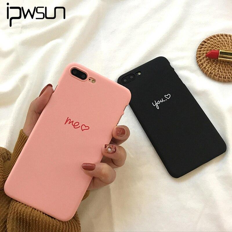 IPWSOO розовый мне черный вы с узором любящего сердца любителей ПК Жесткий Чехол для телефона крышка Fundas Coque для <font><b>iphone</b></font> 7 7 плюс 6 S 6 Plus 8 8 Plus X