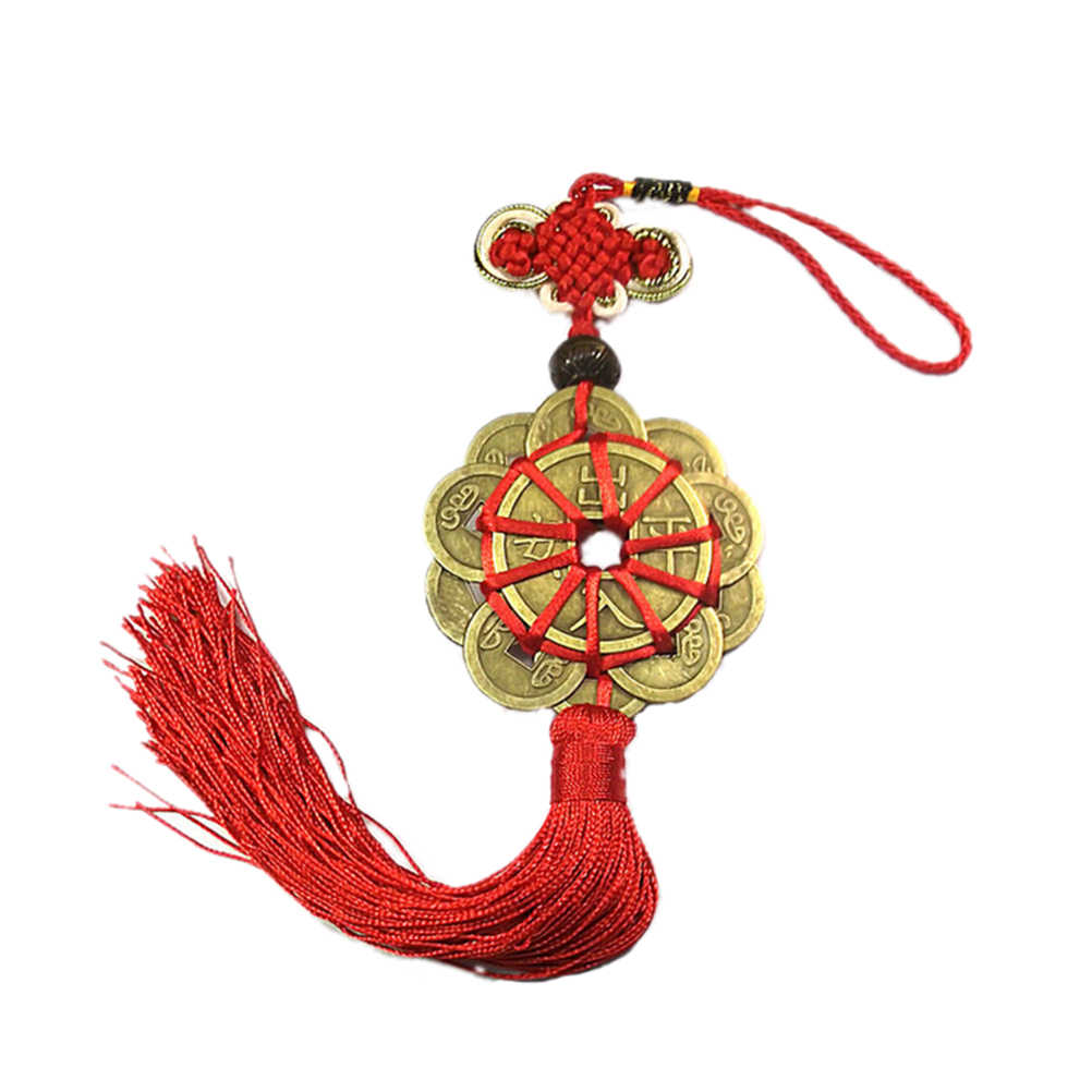 Home Decor Chinese Lucky Feng Shui Car Mirror Pendant Lucky Charm Symbol Good Fortune Attract Wealth & Good Luck Coins