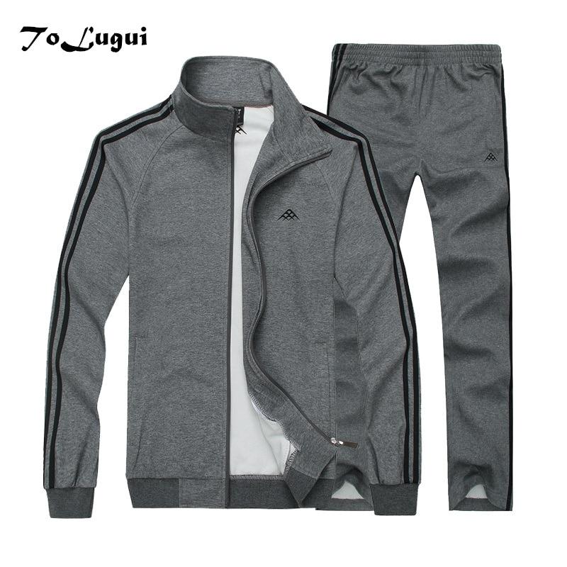 2019 Men's Sets Jacket+Sweatpants Men Brand Clothing Two Piece Suit Tracksuit Fashion Casual Spring Thin Cotton Sweatshirt Sets