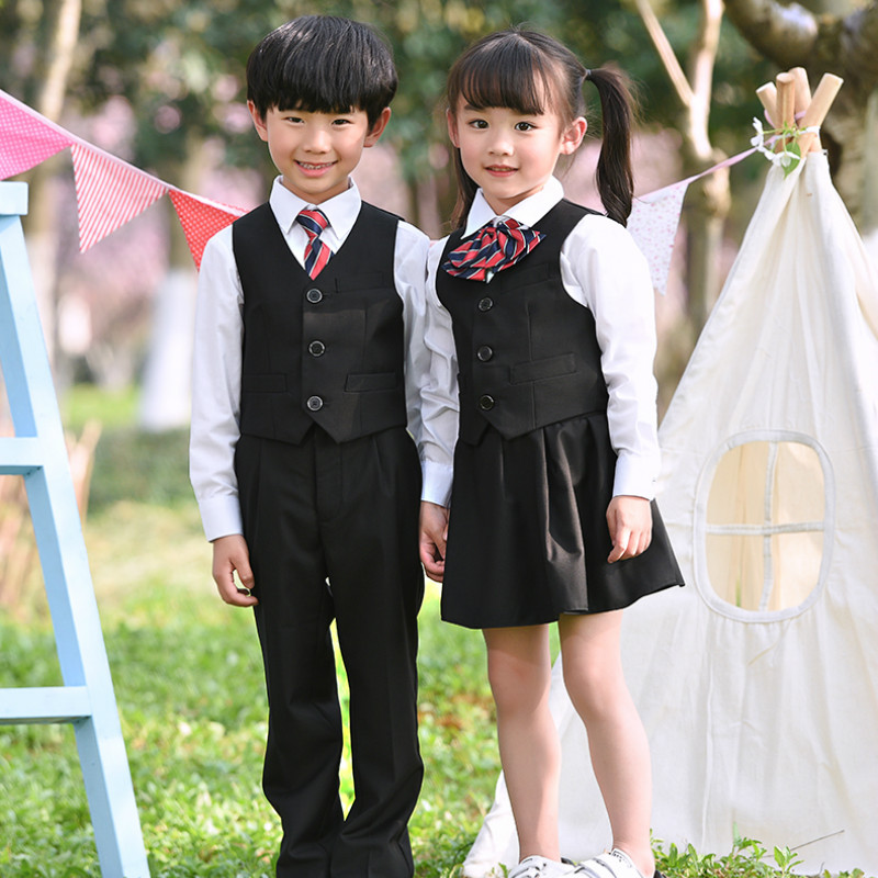 Children Student School Uniforms Set Suit for Girls Boys Waistcoat Vest Shirt Skirt Tie Clothes