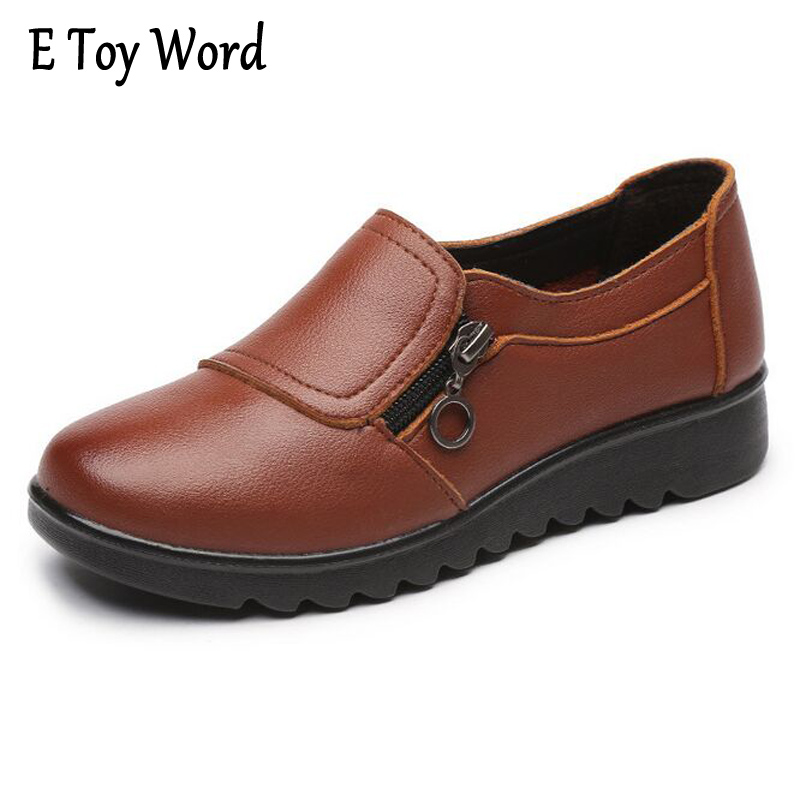 E TOY WORD Women Ankle Boots 2017 New Autumn Soft PU Leather Platform Shoes Woman Zip Low Wedges Shoes Size Plus 35-41 eiswelt women zip ankle boots heels women soft leather platform shoes female wedges shoes zqs185