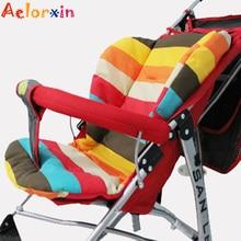 Cotton Soft Thick Baby Stroller Seat Pushchair Cushion Infant Cute Rainbow Color Pram Cushion Accessories BB Car Seat Cushion