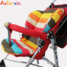 Cotton Soft Thick Baby Stroller Seat Pushchair Cushion Infant Cute Rainbow Color Pram Cushion Accessories BB Car Seat Cushion