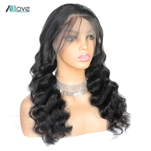 Allove 4X4 Loose Deep Wave Lace Front Human Hair Wigs Pre Plucked 180 Density Brazilian Lace Front Wigs For Women Remy Hair Wigs