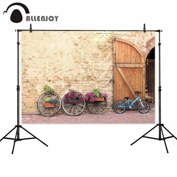Allenjoy backdrops photocall bicycle vintage arch building outdoor flowers background photo studio props photography photozone image