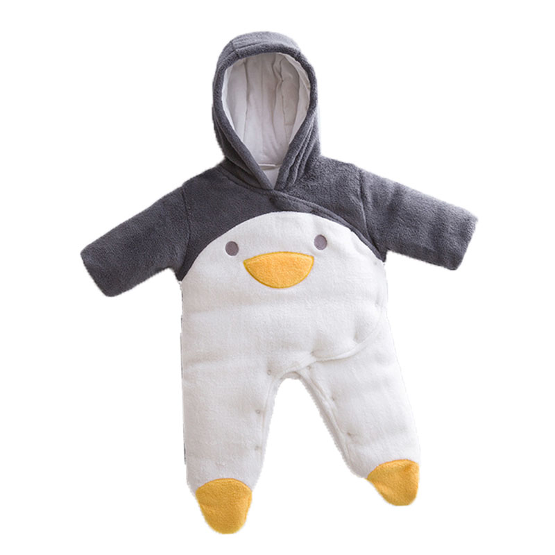 Baby Snowsuits Cotton Penguin Hooded Jumpsuit Infant Toddler Boys Girls Winter Overalls Kids Clothes Newborn Thicken Rompers newborn baby jumpsuit warm winter boys and girls toddler rompers cartoon animal wolf long sleeves overalls cotton kids clothes