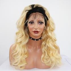 Eversilky Ombre блондинка Синтетические волосы на кружеве парик полный шнурок человеческих волос парики для Для женщин Бразильский объемная