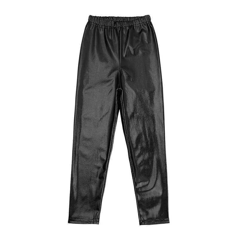 Niños Niñas brillante metálico moda Skinny pantalones danza desgaste elástico pretina Leggings Niño Hiphop rendimiento traje de baile de jazz