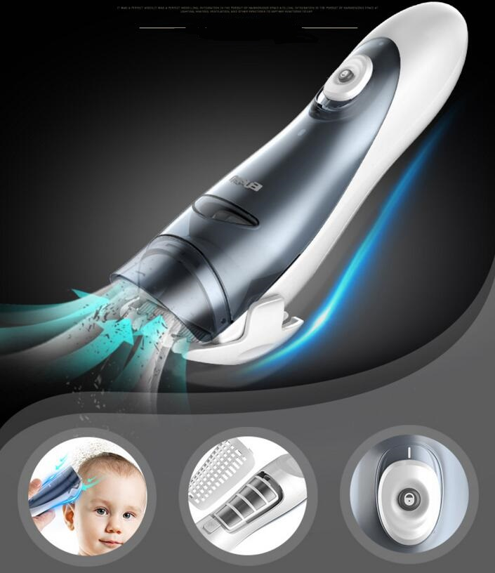 professional IPX7 washable baby hair clipper vacuum less mess children hairdress trimmer infant absorb hair styling baber tool