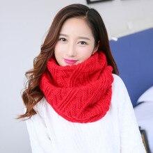 Женский Зимний вязаный шарф Echarpe красный розовый черный желтый зеленый серый