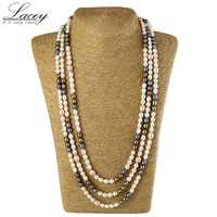 Long Natural Freshwater Pearl Neckalce Women 190cm 200cm Fashion Multilayer Real Pearl Necklace Fine Jewelry Mother