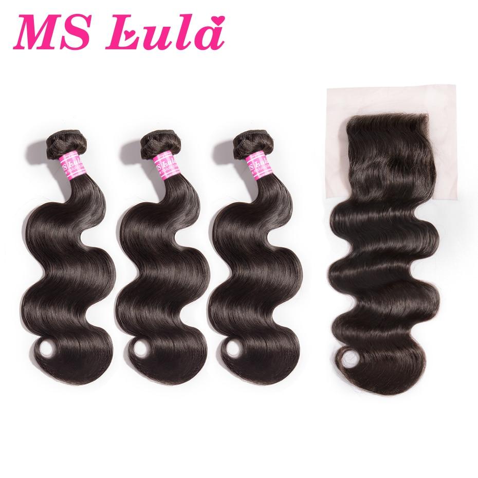 MS Lula Malaisie Vague de Corps 3 Bundles Avec 4x4 Fermeture 100% Remy Armure de Cheveux Humains Partie Libre Fermeture extension de cheveux Livraison Gratuite