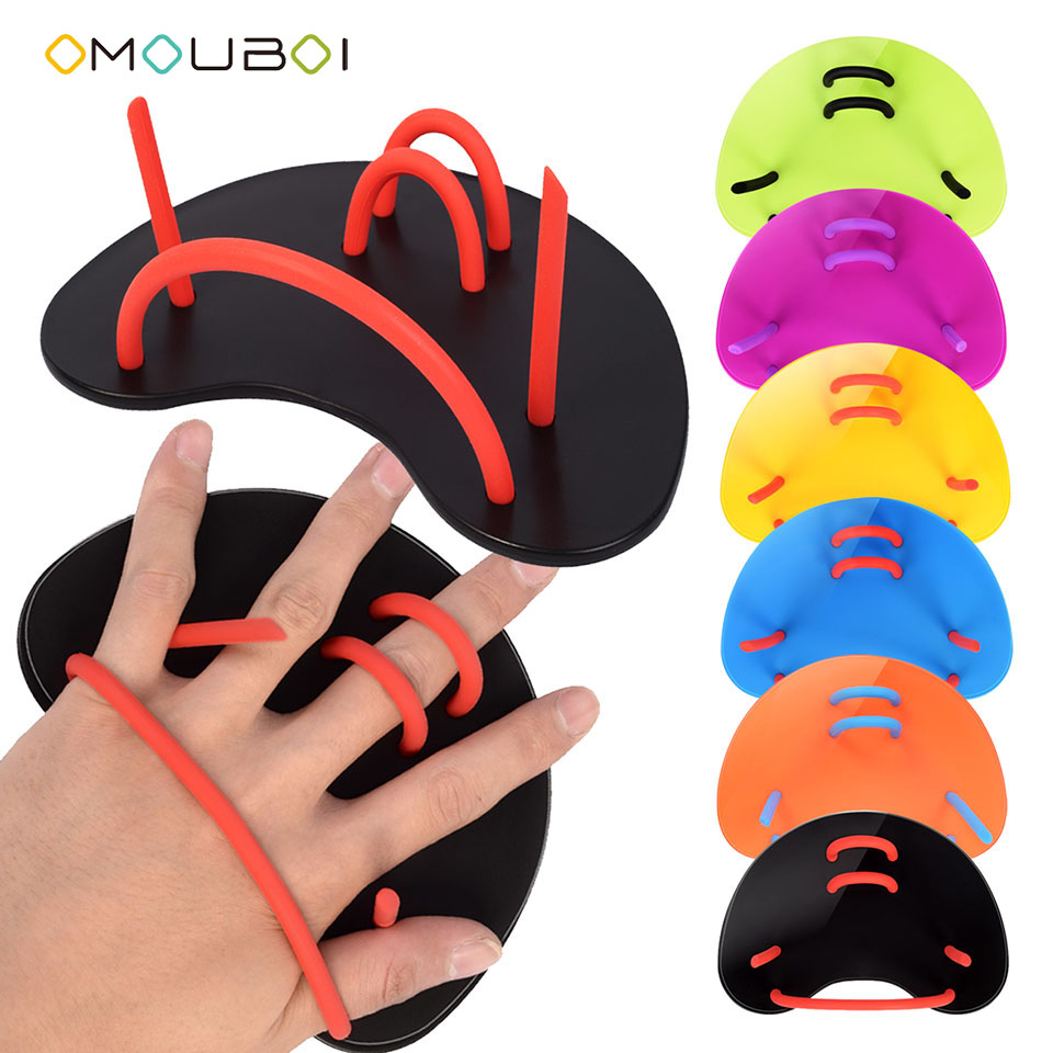 OMOUBOI Swim Training Hand Paddles Diving Swimming Water Stroke Gear 1 Pair Adjustable Hand Webbed Flippers For Men Women Kids