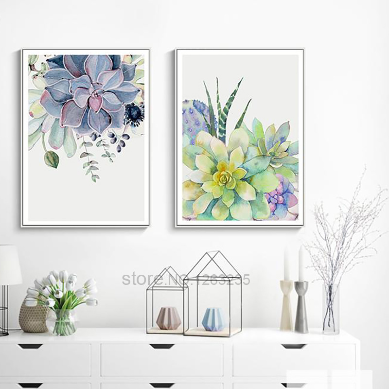 HTB1JiQsm8TH8KJjy0Fiq6ARsXXal Succulent Plants Nordic Poster Leaf Cactus Flowers Wall Art Print Posters And Prints Canvas Painting Wall Pictures Home Decor